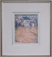 Sale 8048A - Lot 55 - Doreen Gadsby (1926 -), Early Blossom Bowral, oil on canvas board, 25 x 19cm, signed lower left