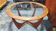 Sale 8395 - Lot 1068 - Round G-Plan Atmos Coffee Table with Glass Top
