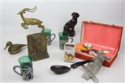 Sale 8473 - Lot 44 - Cased Horn and Letter Opener Together with Brass Ware Ceramics and Bone Spoon
