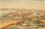 Sale 8624A - Lot 5051 - John Skinner Prout (1805 - 1876) - Millers Point Sydney from the Flagstaff Hill 16.5 x 25.5cm