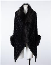 Sale 8760F - Lot 142 - A black faux-fur open shawl cardigan together with a grey faux-fur scarf