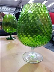 Sale 8777 - Lot 1017 - Pair of Oversized Green Glass Brandy Balloons