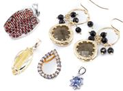 Sale 8946 - Lot 306 - SILVER STONE SET EARRINGS AND PENDANTS; gilt earrings with French jet and feldspar, length 43mm, pendant set with tanzanite, topaz,...