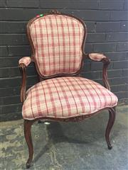 Sale 8976 - Lot 1008 - Louis XV Style Walnut Armchair & Possibly Period, with small carved flowers, upholstered in a red & cream tartan fabric & on cabriol...