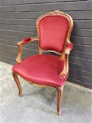 Sale 8993 - Lot 1026 - Louis XV Style Style Armchair upholstered in red velvet & on cabriole legs (H: 97 x W: 60cm)