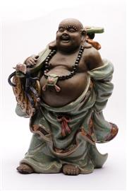 Sale 9032 - Lot 3 - Large potted figure of a buddha holding a Ruyi (H41cm)