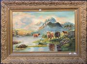 Sale 9041 - Lot 2034 - Artist Unknown (C19th) Highland Scene with Cows oil on canvas 75 x 100cm (frame) initialled lower left
