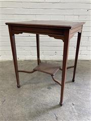 Sale 9085 - Lot 1066 - Late Victorian/ Edwardian Mahogany Occasional Table, the square top with rosewood cross-banding & on tapering legs joined by a shelf...