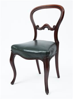 Sale 9080J - Lot 33 - A set of 6 antique English mahogany chairs C: 1850, the waisted back with a shaped centre splat, the shaped seat rails with studded ...