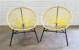 Sale 9102 - Lot 1283 - Pair of metal framed Acapulco style outdoor chairs (h:84 x 6cm)