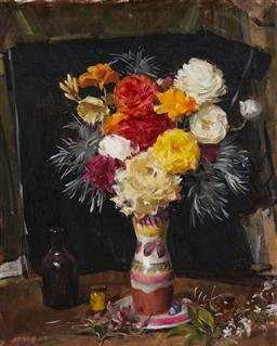 Sale 9141 - Lot 581 - William Dargie (1912 - 2003) Floral Still Life oil on canvas 59 x 46 cm (frame: 76 x 62 x 5 cm) signed lower right