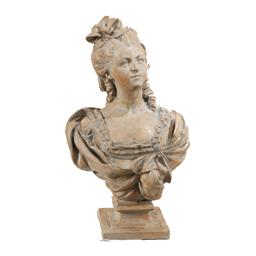 Sale 9140F - Lot 134 - Large Magnesia Female Bust Statue with a weathered off white finish. Dimensions: W40 x D30 x H65 cm