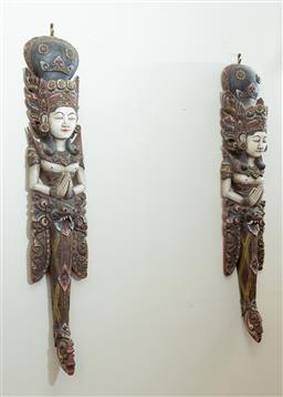 Sale 9164H - Lot 67 - A pair of carved and polychrome painted guardian figures, height 106cm