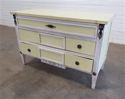 Sale 9166 - Lot 1030 - Painted timber chests of 3 drawers (h81 x w122 x d52cm)