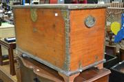 Sale 8115 - Lot 1468 - Fitted Timber Trunk w Metal Handles