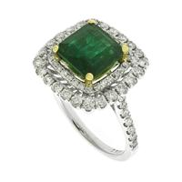 Sale 8221A - Lot 93 - 18ct White Gold Emerald and Diamond Ring; centering a square cushion emerald estimated 2.11ct, to surround double border with sixty-...