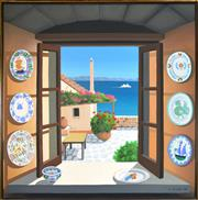 Sale 8309 - Lot 589 - Gillian Lodge (1954 - ) - China in Greece, 1994 153 x 153cm