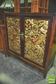 Sale 8371 - Lot 1001 - Oriental Rosewood Carved Front 2 Door Cabinet