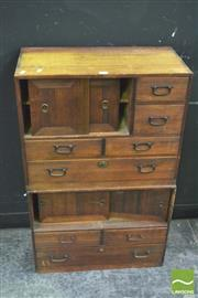 Sale 8392 - Lot 1006 - Japanese Two Piece Tansu (H 96 x W 60.5 x D 30cm)