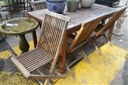 Sale 8550 - Lot 1356 - Timber Outdoor Table and Set of Five Fold Out Chairs