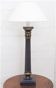 Sale 8550H - Lot 202 - A black and gilt painted column table lamp, total H 54cm