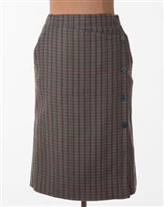 Sale 8550F - Lot 174 - An Escada by Margaretha Ley wool and cashmere blend tartan skirt in dark tones with buttons down the front, size 40.