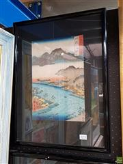 Sale 8587 - Lot 2072 - Japanese School - Highland Mountains, River and Village colour woodblock (AF), 33 x 22.5cm, inscribed