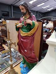 Sale 8693 - Lot 1072 - Plaster Polychrome Figure of Christ, with sacred heart, after a model by Laurens