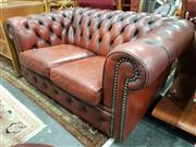 Sale 8745 - Lot 1023 - Moran Burgundy Leather Two Seater Chesterfield