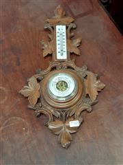 Sale 8868 - Lot 1067 - Early 20th Century French Carved Barometer with Grape Leaf Detailing