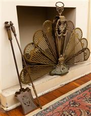 Sale 8882H - Lot 56 - A French style brass folding peacock fire screen, Height 73cm together with a coal shovel, some faults.