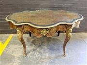 Sale 8993 - Lot 1043 - Good Boulle Style Bureau Plat or Desk, with engraved brass inlays on a red tortoiseshell ground with ebonised details, with serpen...
