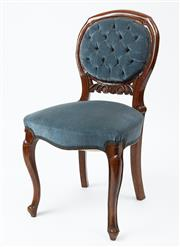 Sale 9080J - Lot 34 - A set of 6 antique English walnut chairs C: 1885, the carved back deep buttoned and the shaped seat both upholstered in soft blue ve...