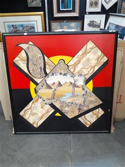 Sale 9087 - Lot 2049 - A Conceptual Mixed Media Artwork depicting Aboriginal History and Biblical Commentary  106 x 106cm, unsigned