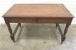 Sale 9126 - Lot 1143 - Late Victorian Mahogany Desk or Library Table, with tooled brown leather top, above two drawers, turned legs and galleried stretcher...