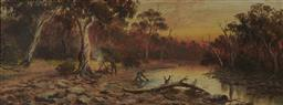 Sale 9099A - Lot 5052 - Colonial School Boil the Billy, Henty River, Tasmania oil on board 21.5 x 59.5 cm (frame: 67 x 30 x 2 cm) inscribed and titled verso