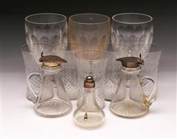Sale 9098 - Lot 255 - Group of crystal wares incl. three Waterford goblets (one chipped) and silver topped examples (one cracked)