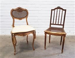 Sale 9126 - Lot 1101 - Two French Gilt Side Chairs, one Louis XV style with shaped cane back and seat, on cabriole legs, the other Louis XVI style, also wi...