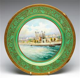 Sale 9255S - Lot 76 - A Minton  Tower of London Charger signed lower right A Holland Diameter 37.5cm