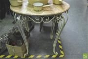Sale 8302 - Lot 1012 - Marble Top Metal Based Table