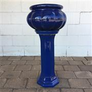 Sale 8607R - Lot 101 - Blue Ceramic Jardiniere on Stand (H: 83cm)