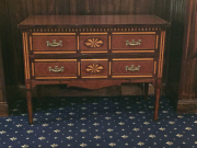 Sale 8677B - Lot 911 - A Louis XVI style chest of two drawers with parquetry design, H x 82cm, W x 110xm, D x 51cm