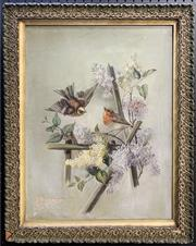 Sale 8668 - Lot 2007 - Artist Unknown (Early C20th) - Two Robins in Springtime, oil on canvas (AF), 63 x 50cm (frame size), unsigned -