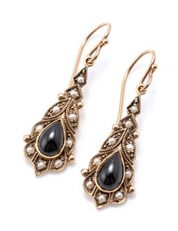 Sale 9221 - Lot 360 - A PAIR OF 9CT GOLD VICTORIAN STYLE ONYX AND PEARL EARRINGS; dop shape plaques each set with a pear shape cabochon onyx and seed pear...