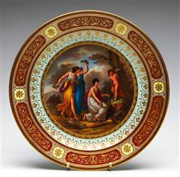 Sale 9255S - Lot 77 - A Handpainted classical theme charger Diameter 36cm