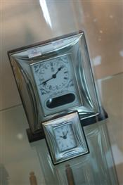 Sale 7875 - Lot 62 - Sterling Silver Clock & a Smaller Example