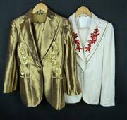 Sale 7982B - Lot 59 - Two Gucci pant suits; both pants 40 and jackets 42