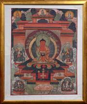 Sale 8048A - Lot 54 - An old painted Thangka in gilt frame, 75 x 58cm