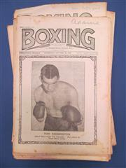 Sale 8419A - Lot 49 - Boxing Bits II - a box containing Boxing Illustrated 1966, Boxing Weekly 1920s, and a large group of Australian cuttings 1930s
