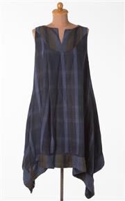 Sale 8550F - Lot 175 - A Sark linen navy and black sleeveless A line dress, size M.